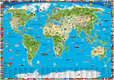 Weltkarte für Kinder - farbenfroh und lehrreich