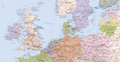 Europakarte nach dem Brexit, ohne UK