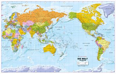Weltkarten - Pazifik zentriert in deutsch