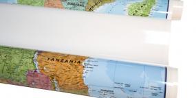Lamineret på begge sider plakat kort land kort og verdenskort