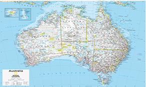 NGS Country Kort Australia Newzealand