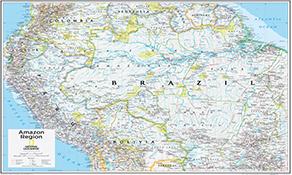 NGS Country Kort Southamerica Og Sydamerika